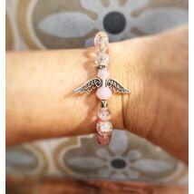 Angyakla charm karkötő- rózsaszín kristály