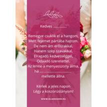 Koszorúslány felkérő kártya- pink