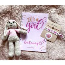 Babaváró ajándékcsomag™-Babanapló + karkötő szett +horgolt nyuszi - kislányos