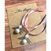 Angyalka medálok  -2db- fehér-rózsaszín