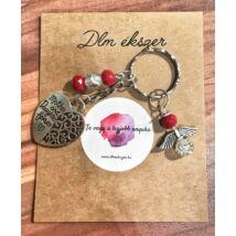 Anya-lánya angyalka kulcstartó-piros