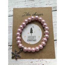 Rózsaszín gyöngy karkötő- hópihe medállal