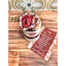 Koszorúslány felkérő virágbox- bordó tricolor