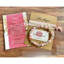 Rózsaszín és kristály Bridesmaid karkötő szett