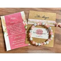 Rózsaszín és márvány Bridesmaid karkötő szett