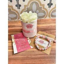 Koszorúslány felkérő virágbox- rózsaszín+márvány