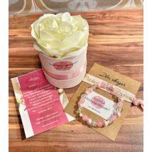 Koszorúslány felkérő virágbox- rózsaszín+kristály