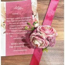 Virág csuklódísz- koszorúslány felkérővel-pink