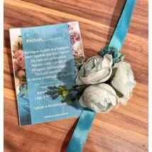 Virág csuklódísz- koszorúslány felkérővel-türkizkék