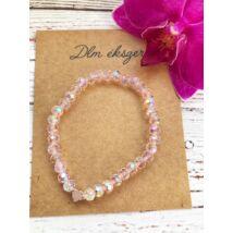 Extra Rózsaszín kristály karkötő szívvel