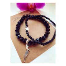 Fekete kristály karkötő szett+ ajándék charm