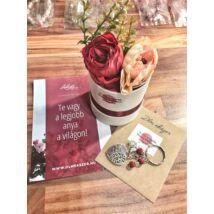 Legjobb anya virágbox- piros - kulcsartóval