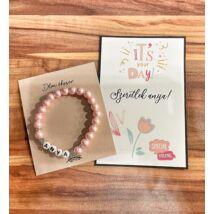 Anya feliratos gyöngy karkötő- rózsaszín