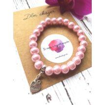 Rózsaszín gyöngy karkötő- mom medállal