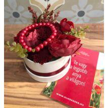 Legjobb anya virágbox- piros- közepes