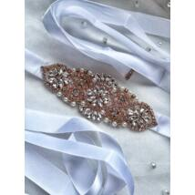 Lora Rozé Menyasszonyi szatén öv- fehér
