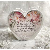 Szülő köszöntő táblácska szív kosárka - HAZATÉREK - rózsaszín