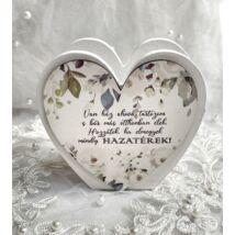 Szülő köszöntő táblácska szív kosárka - HAZATÉREK - zöld