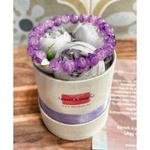 Tanú felkérő boglárka virágbox- lila