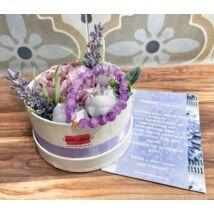 Tanú felkérő virágbox- roppantott lila