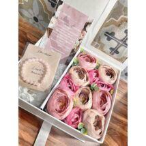 Extra Tanú felkérő virágbox- fehér-rózsaszín