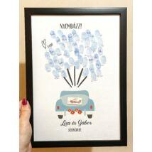 Kék autós ujjlemonyat kép esküvőre- alternatív vendégkönyv - keretben