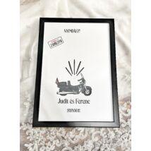 Motoros ujjlemonyat kép esküvőre- alternatív vendégkönyv - keretben