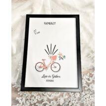 Biciklis ujjlemonyat kép esküvőre- alternatív vendégkönyv - keretben