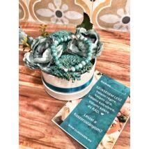 Koszorúslány felkérő virágbox- türkiz - közepes