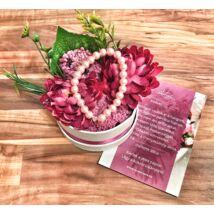 Koszorúslány felkérő virágbox- pink - közepes