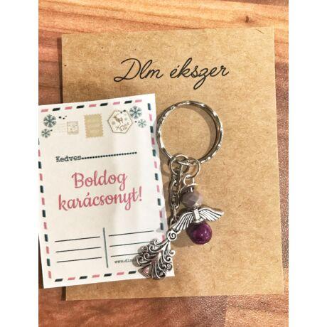 Lila angyalka kulcstartó-karácsonyfás