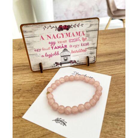 Ajándék mamádnak- karkötő+ táblácska- rózsaszín