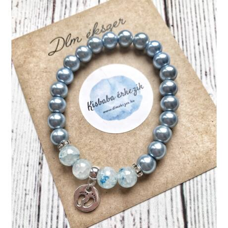 Különleges Kék gyöngy Babaváró karkötő
