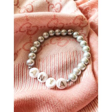 Anya feliratos gyöngy karkötő- ezüst