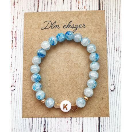 Betű medálos karkötő- különleges kék- bármilyen betűvel kérheted