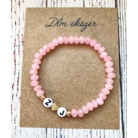 Monogramos kristály karkötő- bármilyen betűvel kérheted- rózsaszín