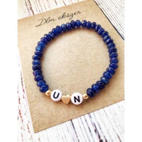 Monogramos kristály karkötő- bármilyen betűvel kérheted- kék