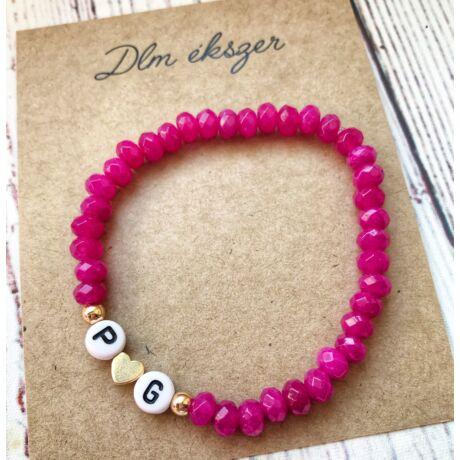 Monogramos kristály karkötő- bármilyen betűvel kérheted- pink