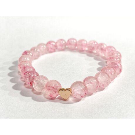 Roppantott gyöngyös karkötő- rózsaszín