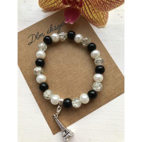 Fekete-fehér charm karkötő + ajándék
