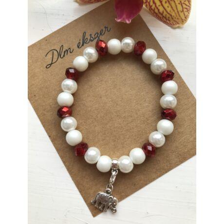 Piros-fehér charm karkötő+ ajándék