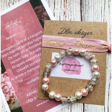 Lola Rózsaszín Bridesmaid karkötő szett