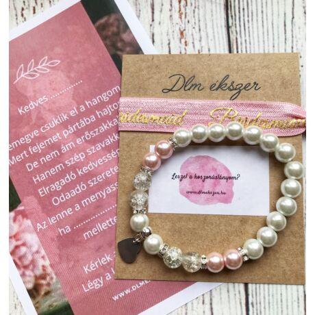 Liz Rózsaszín Bridesmaid karkötő szett