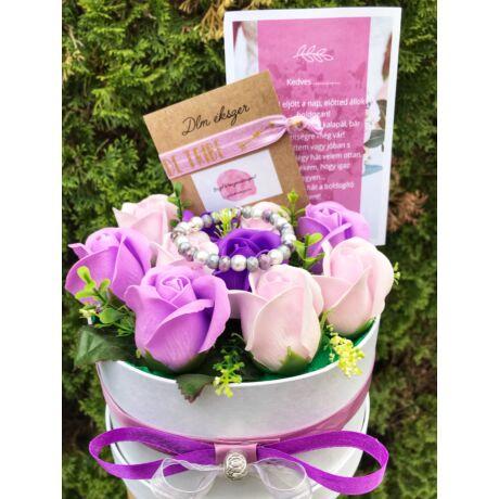 Koszorúslány felkérő virágbox- lila
