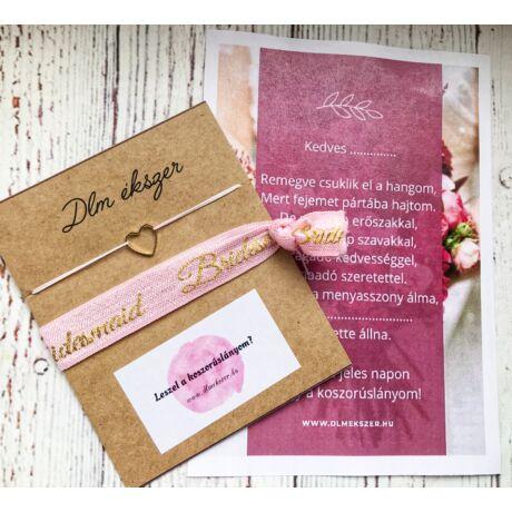 LOVE gold szett- koszorúslányodnak- rózsaszín