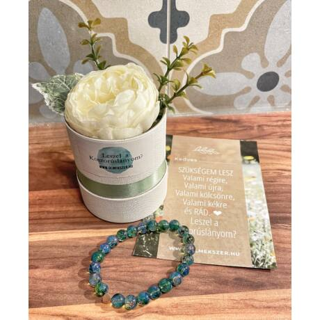 Koszorúslány felkérő virágbox- mistic zöld