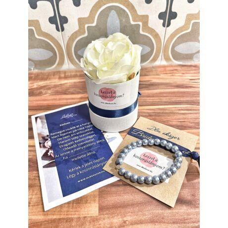 Koszorúslány felkérő virágbox- kék gyöngy - kicsi