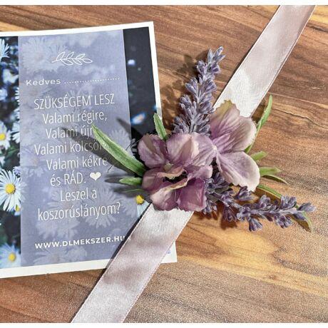 Virág csuklódísz- koszorúslány felkérővel-lila