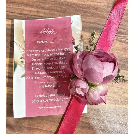 Virág csuklódísz- koszorúslány felkérővel-pinkes lila