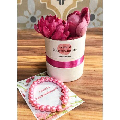 Koszorúslány felkérő virágbox- pink- kicsi